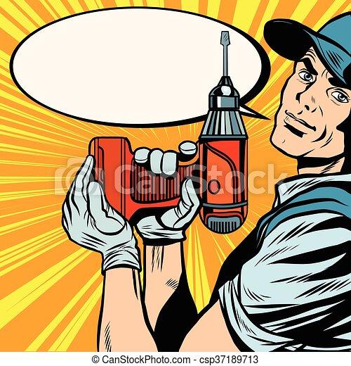 Reparador masculino con un taladro - csp37189713