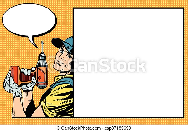 Reparador masculino con un taladro - csp37189699