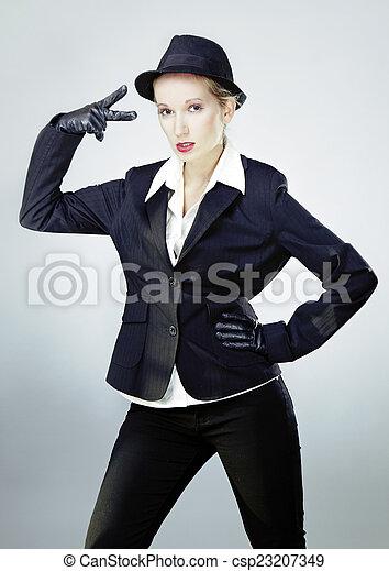 Mafia girl studio portrait - csp23207349