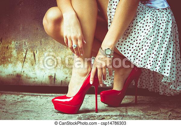 magas, cipők, megsarkal - csp14786303