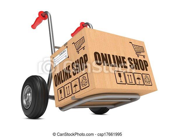 magasin, boîte, carton, -, main, ligne, truck. - csp17661995