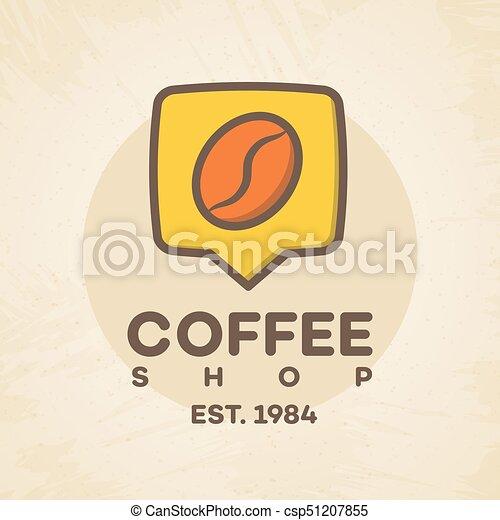 magasin, café, épingle, couleur, maison, style, isolé, haricot, café, fond, logo