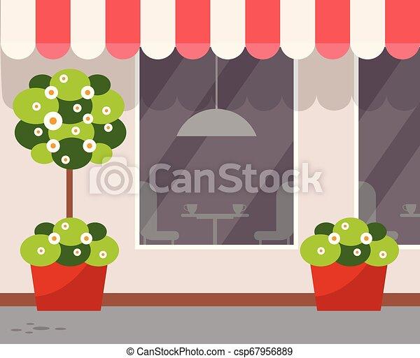 magasin, café, restaurant extérieur, vue extérieure - csp67956889