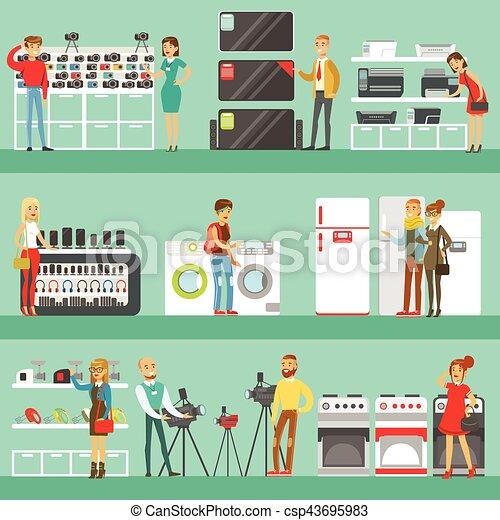 magasin, ensemble, achats, aide, gens, aide, conjugal, choisir, équipement, caractères, électronique, dessin animé, magasin, heureux - csp43695983