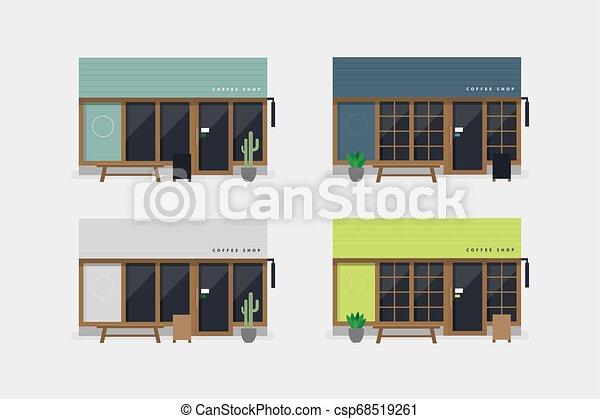 magasin, ensemble café, moderne, devant, vue., café, ou - csp68519261