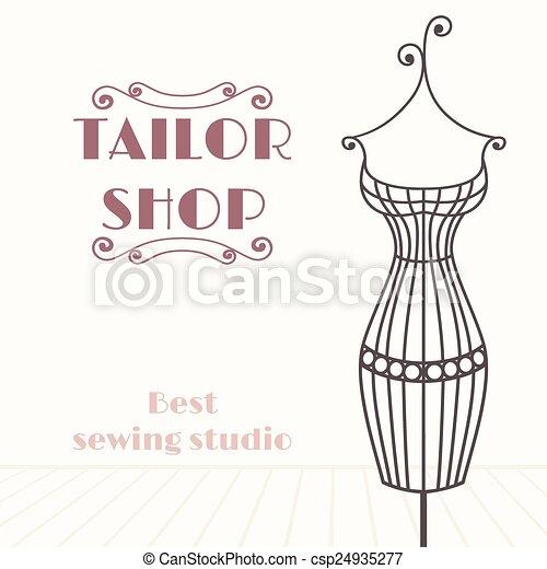 magasin, fer, vendange, mannequin., tailleur, fond - csp24935277