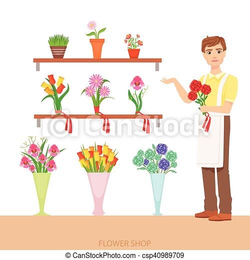 Magasin fleur d montrer fleuriste assortiment m le - Fleuriste dessin ...