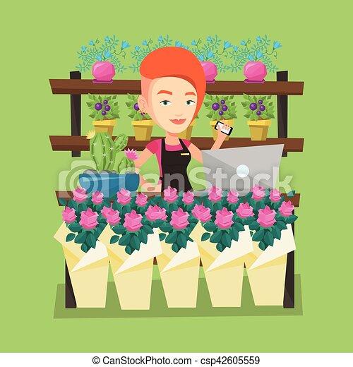 Magasin fleuriste fleur illustration vecteur carr e - Fleuriste dessin ...