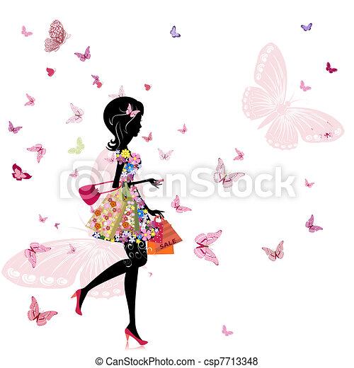 magasin, girl, fleur - csp7713348