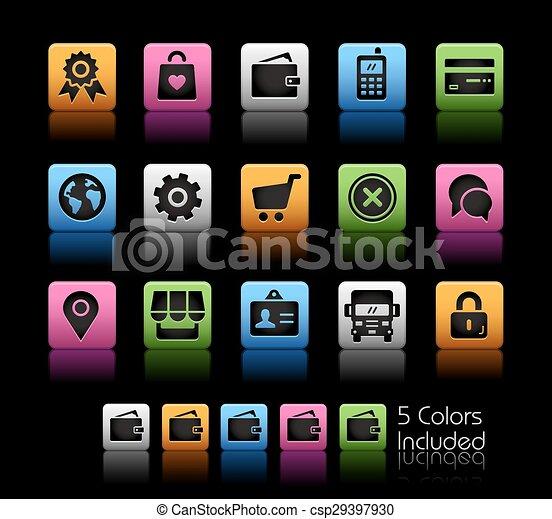 magasin ligne, icônes - csp29397930
