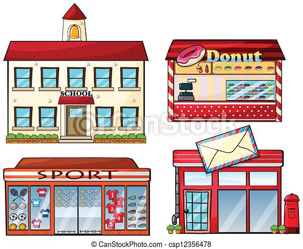 magasin magasin bureau cole beignet poste sport illustration vecteurs rechercher. Black Bedroom Furniture Sets. Home Design Ideas
