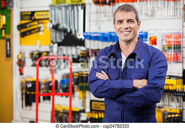magasin, matériel, ouvrier, bras croisés - csp24782333