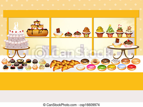 Magasin patisserie illustration - Dessin boulangerie patisserie ...