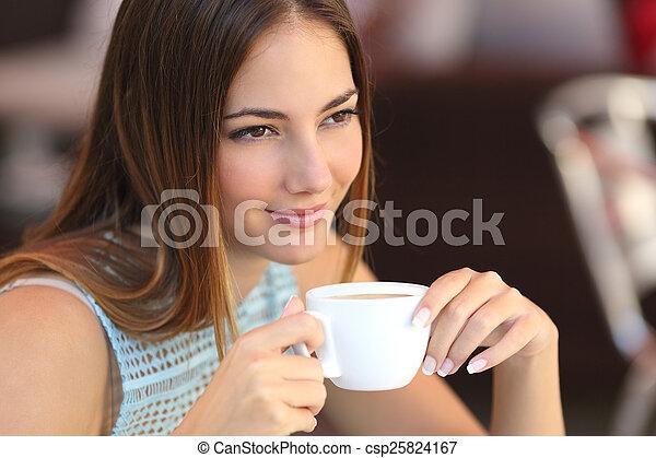 magasin, pensée, café, femme, franc - csp25824167