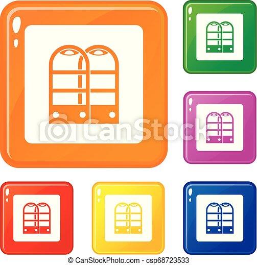 magasin, portes, ensemble, icônes, couleur, vecteur, anti, vol, sécurité, capteur - csp68723533