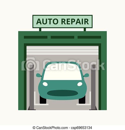 magasin, réparation, concept, business, auto, bleu, isolé, illustration, fond, vecteur - csp69653134