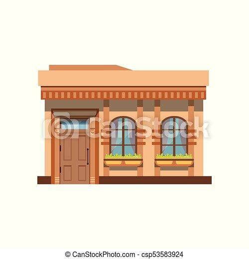 magasin, restaurant, illustration, façade, vecteur, devant, café, ou, magasin, vue - csp53583924
