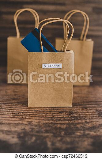 magasin, sacs, étiquettes, une, carte, paymen, sauter, dehors - csp72466513