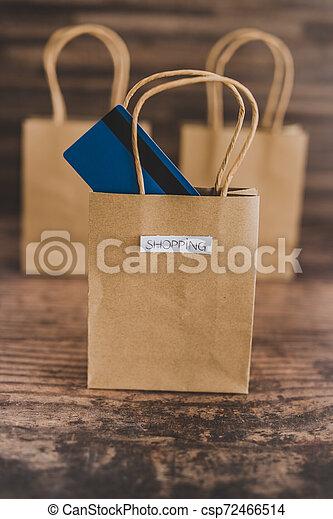 magasin, sacs, étiquettes, une, carte, paymen, sauter, dehors - csp72466514