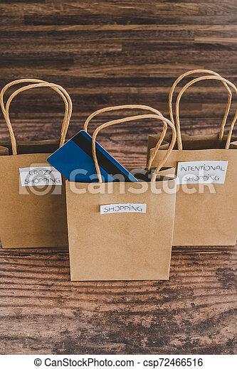 magasin, sacs, étiquettes, une, carte, paymen, sauter, dehors - csp72466516