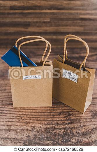 magasin, sacs, étiquettes, une, carte, paymen, sauter, dehors - csp72466526