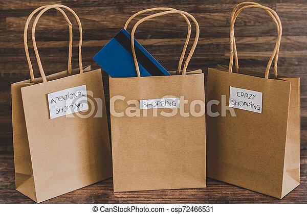 magasin, sacs, étiquettes, une, carte, paymen, sauter, dehors - csp72466531