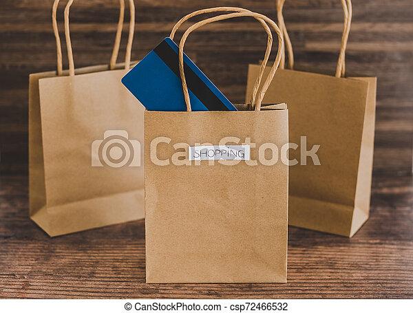 magasin, sacs, étiquettes, une, carte, paymen, sauter, dehors - csp72466532