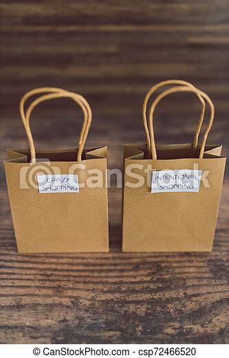 magasin, sacs, fou, achats, étiquettes, intentional - csp72466520
