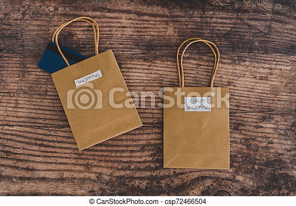 magasin, sacs, fou, achats, flatlay, étiquettes, intentional - csp72466504