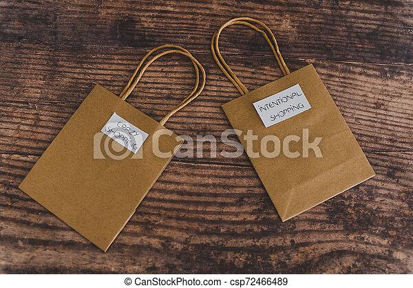 magasin, sacs, fou, achats, flatlay, étiquettes, intentional - csp72466489