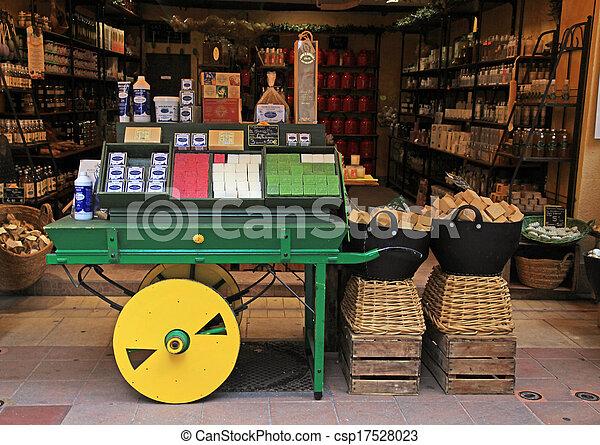 magasin, savon, vieux, gentil, ville, france. - csp17528023