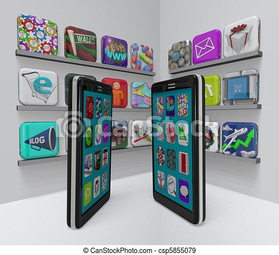 magasin, téléphones, app, -, applications, achat, intelligent - csp5855079