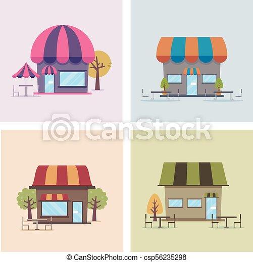 magasins, café, illustration - csp56235298
