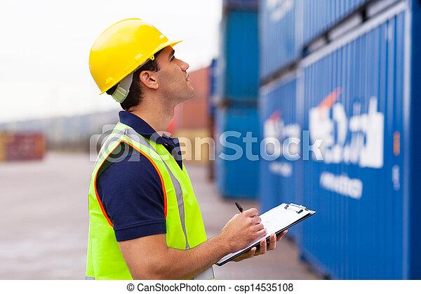 magazijn, opname, arbeider, containers - csp14535108