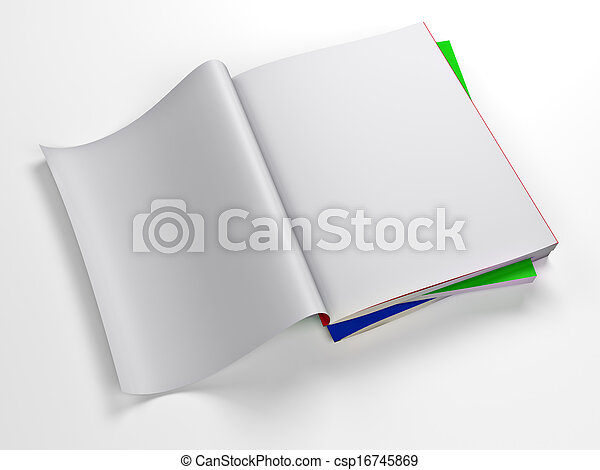 magazine blank page template isolated on white background