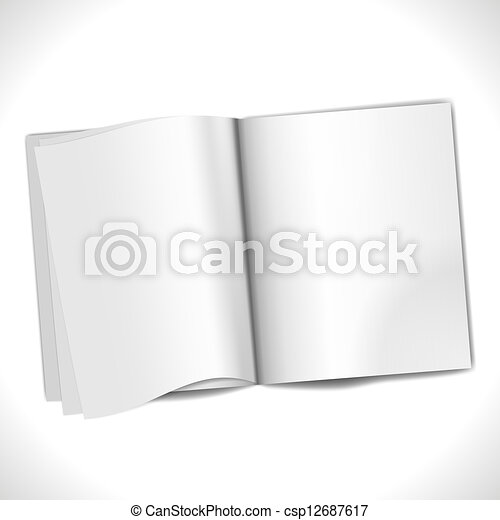 magazine blank pages template isolated on white background