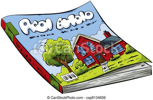 A cartoon real estate magazine with house on the cover for Free home magazines by mail