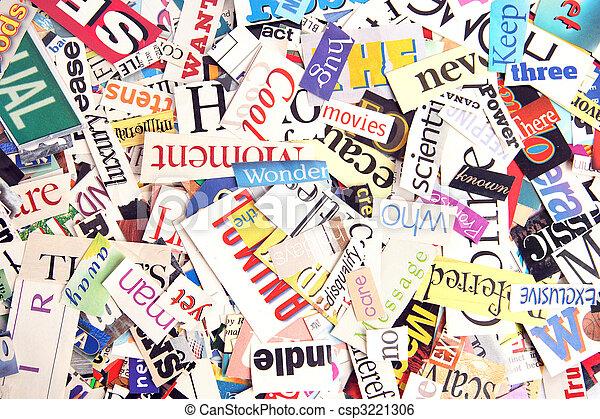 Magazine word background assortment of colorful words cut stock magazine word background csp3221306 publicscrutiny Choice Image