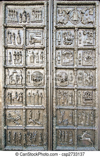 Magdeburg bronze doors with reliefs of biblical scenes - csp2733137 & Picture of Magdeburg bronze doors with reliefs of biblical scenes ... Pezcame.Com