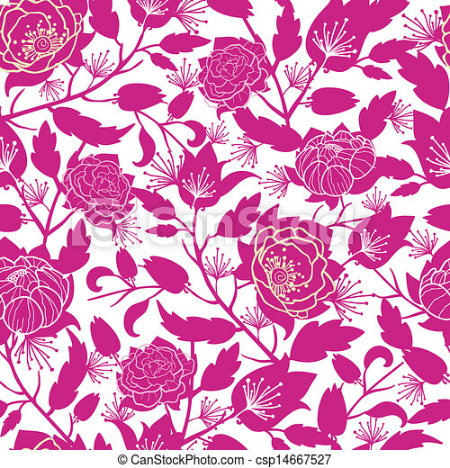 Magenta floral silhouettes seamless pattern background - csp14667527