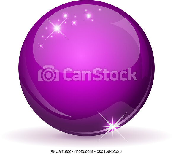 Magenta glossy sphere isolated on white. - csp16942528