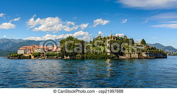maggiore, 호수, islad, bella - csp21997688