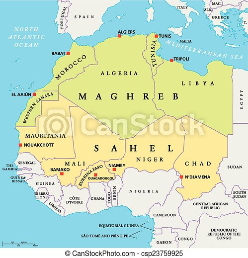 Maghreb and sahel political map with capitals and national vector