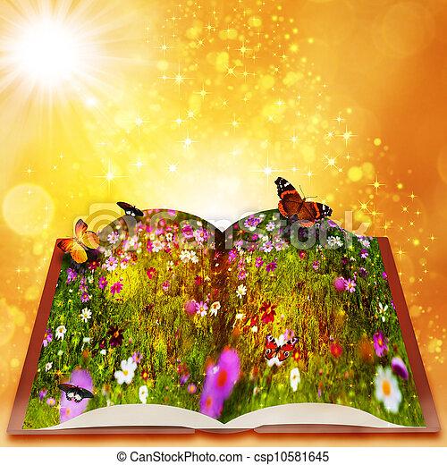 Cuentos de hadas de libro mágico. Trasfondos de fantasía abstractos con belleza bokeh - csp10581645