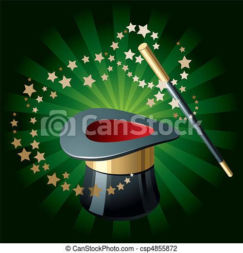 magia, cappello, bacchetta - csp4855872