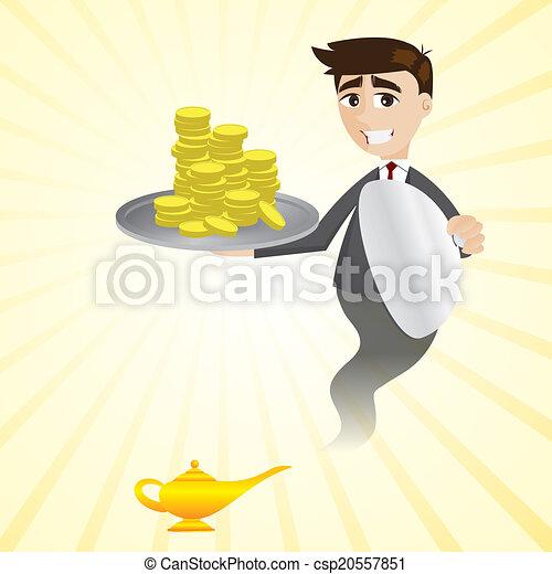 Hombre de negocios de la lámpara mágica que muestra dinero - csp20557851