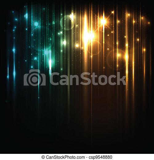 magia, estrelas, luzes, luminoso, vetorial, fundo - csp9548880