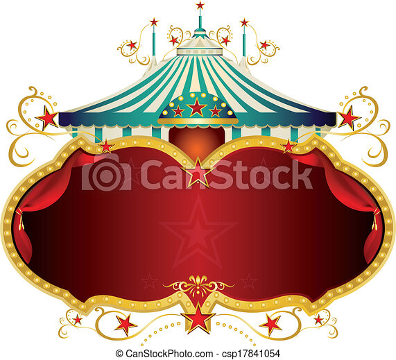 Magic blue baroque circus frame. A circus frame with a big top and a ...