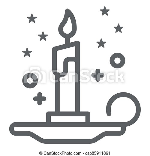 Magic candle line icon, Halloween concept, burning candle and stars sign on white background, wax candle on candlestick icon in outline style for mobile, web design. Vector graphics. - csp85911861