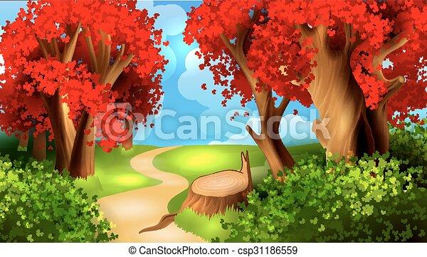 Magic cartoon landscape - csp31186559